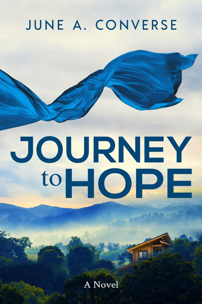 cover Journey to Hope by June A. Converse - cabin in the Blue Ridge Mountains